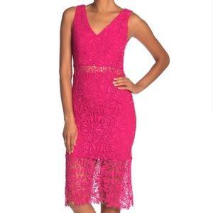 NSR Pink v neck lace dress